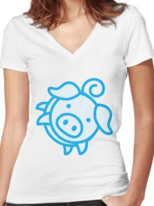 Pinky_Pig Women's Fitted V-Neck T-Shirt