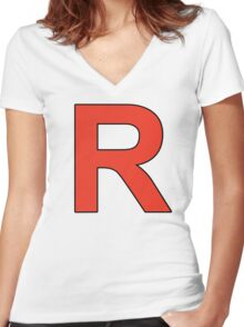 Team Rocket Logo Women's Fitted V-Neck T-Shirt