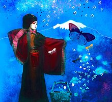 Geisha with Butterflies and Stars by Jeff Burgess