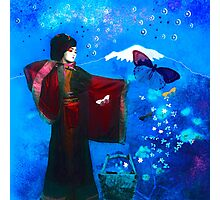 Geisha with Butterflies and Stars Photographic Print