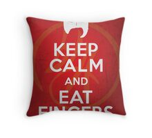 Keep Calm and Eat Fingers Throw Pillow