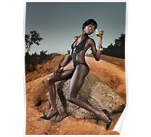 Black Woman in Swimsuit with Cocktail Glass art photo print Poster