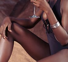 Sexy black woman with cocktail glass art photo print by ArtNudePhotos