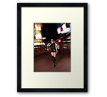 Attractive Young Woman Walking Down the Street at Night art photo print Framed Print