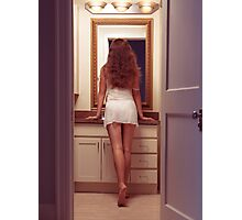 Young sexy woman at a bathroom mirror art photo print Photographic Print