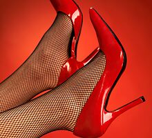Woman legs in red high heel shoes up in the air art photo print by ArtNudePhotos