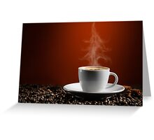Christmas Tree Steam Coming from a Cup of Coffe art photo print Greeting Card