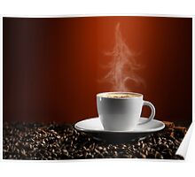 Christmas Tree Steam Coming from a Cup of Coffe art photo print Poster
