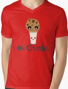"""Oh Crumbs"" - Kawaii Cookie & Milk Mens V-Neck T-Shirt"