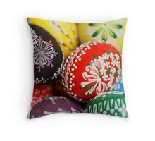 Painted Easter Eggs - Red Green Yellow Blue Throw Pillow