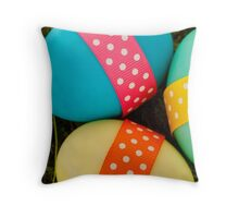 Painted Easter Eggs, Ribbons, Dots - Blue Green Throw Pillow