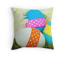 Painted Easter Eggs, Ribbons, Dots, Flowers Throw Pillow