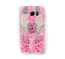 Barbie Pink Diamond Rose Pearls Print Samsung Galaxy Case/Skin
