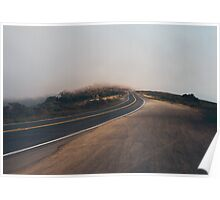 Car Driving Into Fog Poster