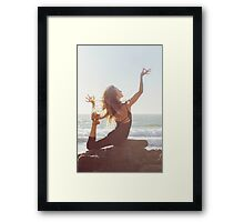 Yoga: Woman in Pigeon Pose Framed Print