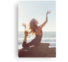 Yoga: Woman in Pigeon Pose Canvas Print