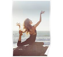 Yoga: Woman in Pigeon Pose Poster