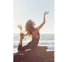 Yoga: Woman in Pigeon Pose Photographic Print