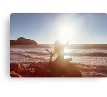 Young Woman Doing Beach Yoga Canvas Print