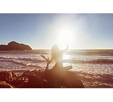 Young Woman Doing Beach Yoga Photographic Print