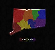 Connecticut Rainbow Map - LGBT Equality by LiveLoudGraphic
