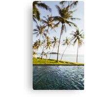 Beachfront Pool With Coconut Palms Defocused Canvas Print
