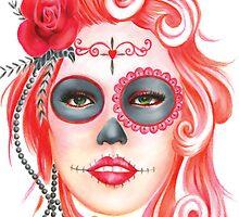 Red head Sugar Skull by JemkaArt