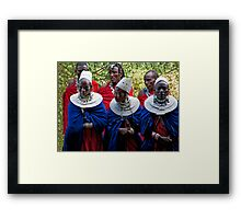Young Masai Men And Women Framed Print