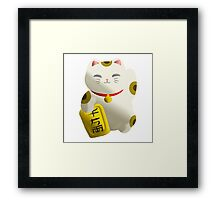Lucky Cat White Framed Print