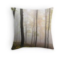 Foggy Woods in Autumn Impressionism style Throw Pillow