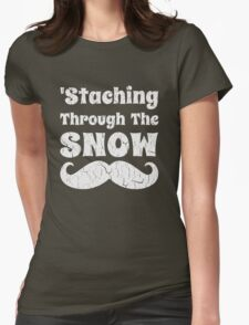 Staching Through The Snow Funny Christmas Design Womens Fitted T-Shirt