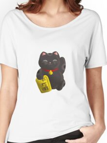 Lucky Cat Black Women's Relaxed Fit T-Shirt
