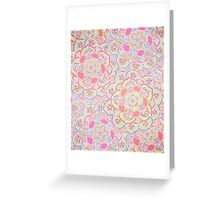 Candyfloss Colored Doodle Pattern Greeting Card