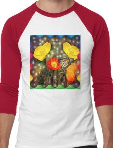 Yellow and Red Poppies  Men's Baseball ¾ T-Shirt