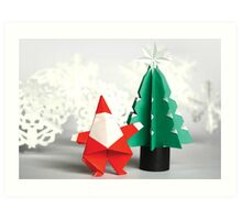Origami Christmas Art Print