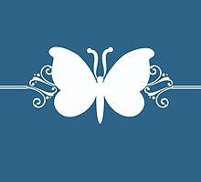 Blue Butterfly Swirls Design by superstarbing