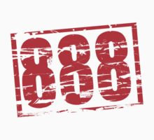 888 lucky number red rubber stamp effect Kids Tee
