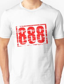 888 lucky number red rubber stamp effect T-Shirt