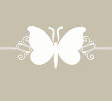 Beige Butterfly Swirls Design by superstarbing