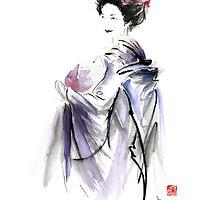 Geisha Japanese woman in Tokyo fresh flowers kimono original Japan painting art by Mariusz Szmerdt