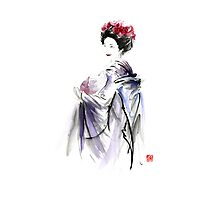 Geisha Japanese woman in Tokyo fresh flowers kimono original Japan painting art Photographic Print