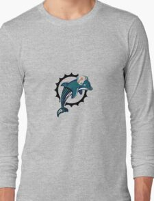Miami Dolphins Metal Logo Long Sleeve T-Shirt