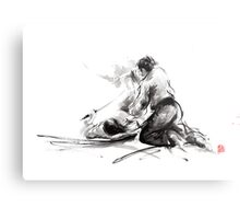 Samurai sword bushido katana martial arts budo sumi-e original ink painting artwork Metal Print