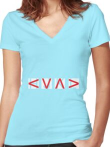 HJKL (Red Arrows + Text Transparency) Women's Fitted V-Neck T-Shirt