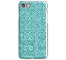 Aqua Elegant Damask Pattern iPhone Case/Skin