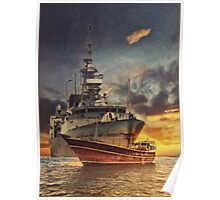 Canadian Frigate and Dhow Poster
