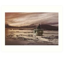Canadian Frigate in Icy Water Art Print