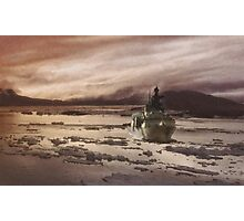 Canadian Frigate in Icy Water Photographic Print