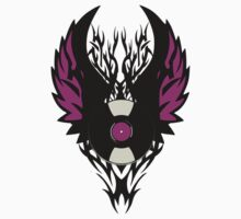 Vinyl Record Retro Punk Spikes Tribal with Wings - Purple Design Kids Clothes