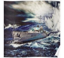 Canadian Flower Class Corvette Dropping a Depth Charge Poster